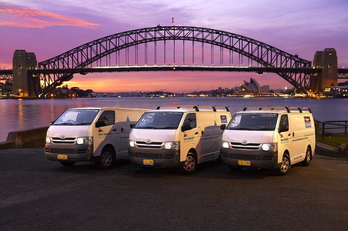Commercial image of vans at the Sydney harbour bridge at dawn