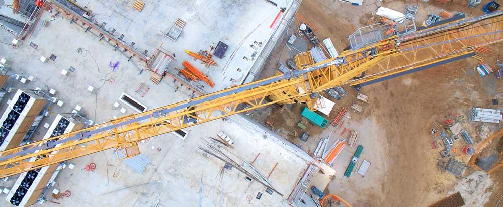 Crane shot by a drone